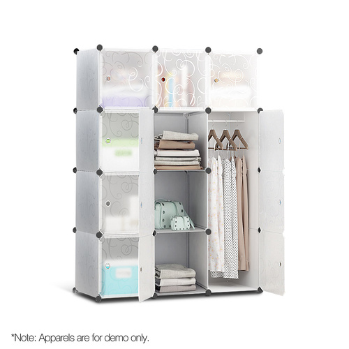 12 Cube Portable Storage Cabinet Wardrobe - White