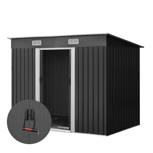 Giantz 2.35 x 1.31m Steel Base Garden Shed - Grey