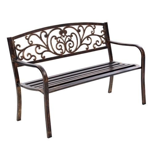 Gardeon Cast Iron Garden Bench - Bronze