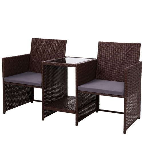 Gardeon Outdoor Setting Wicker Loveseat Birstro Set Patio Garden Furniture Brown