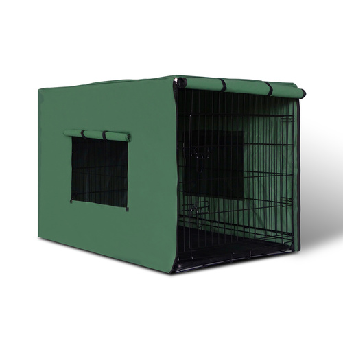 i.Pet 36inch Collapsible Pet Cage with Cover - Black & Green