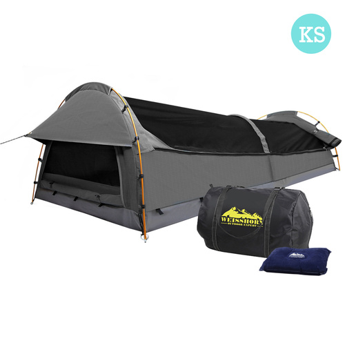 Weisshorn King Single Swag Camping Swag Canvas Tent - Grey