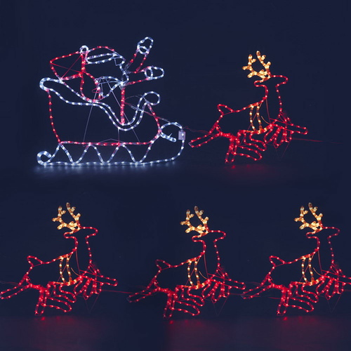 Jingle Jollys Christmas LED Motif Light Rope Santa Reindeer