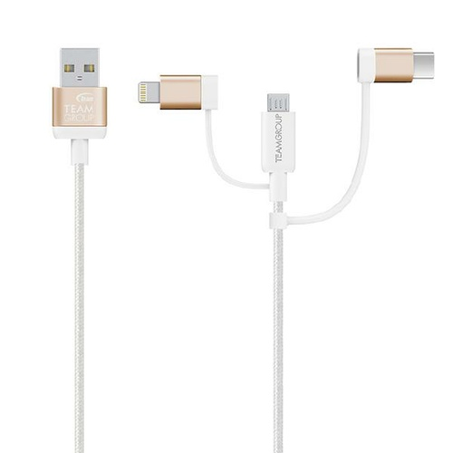 Team Micro USB & Lightning  & USB-C 3 in 1 Charging Cable GOLD